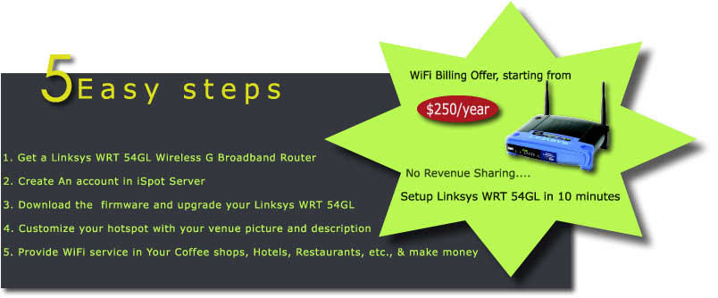 wrt 54gl, wifi billing, hotspot management, captive portal